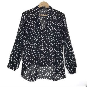 Body Central sheer dots high low button up blouse